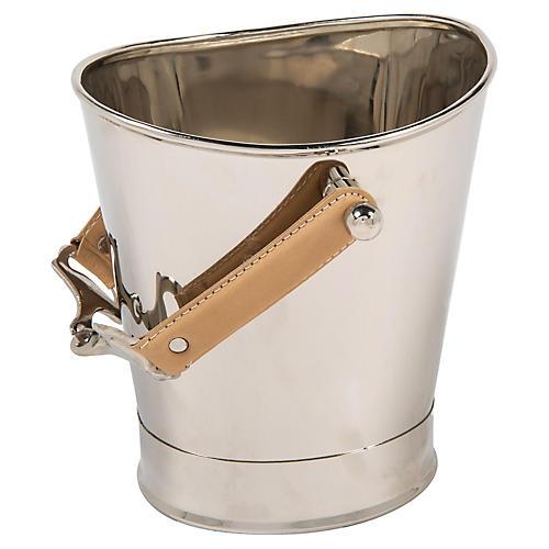 "10"" Horse Bit Handle Ice Bucket, Silver"