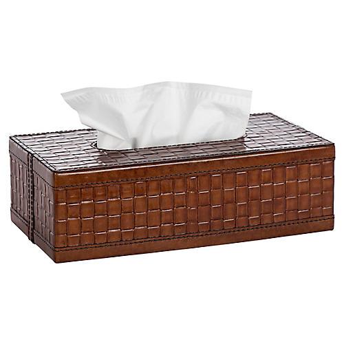 "11"" Basketweave Tissue Box, Tan"