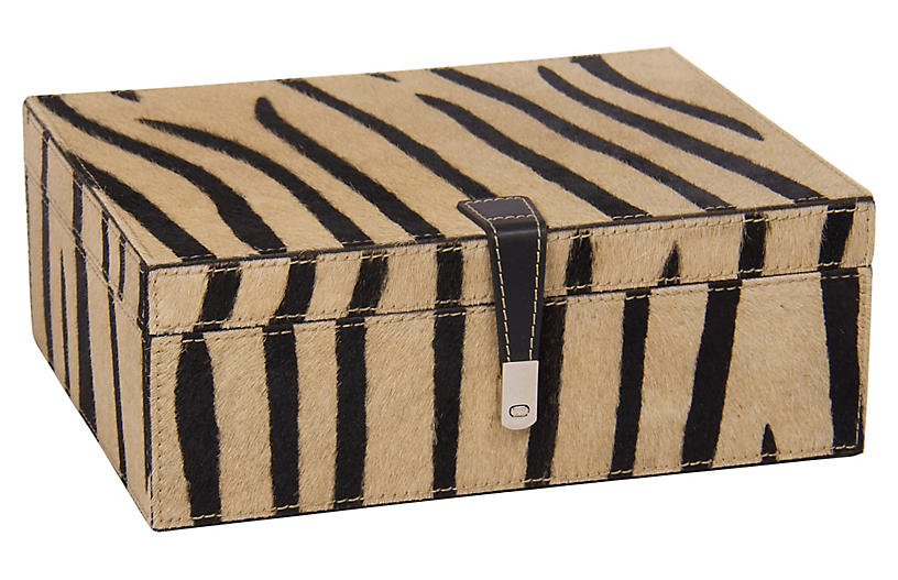 Barclay Butera For Bradburn Home 11 Zebra Print Box Cream Brown One Kings Lane