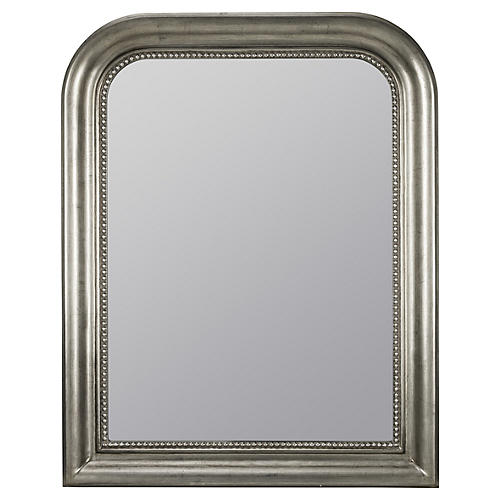 Mason Wall Mirror, Antiqued Silver