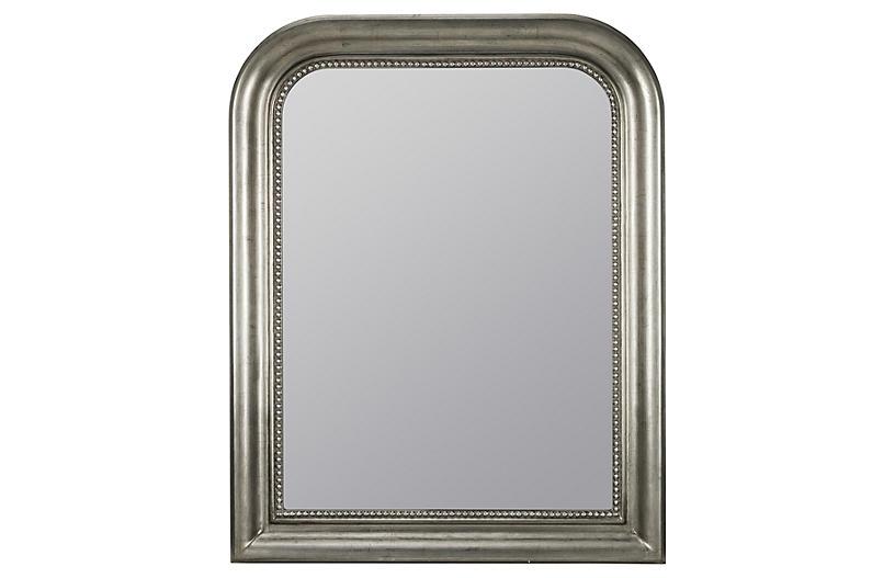 Mason Wall Mirror, Antiqued Silver