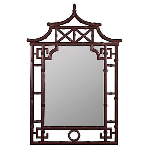 Pagoda Wall Mirror, Mahogany