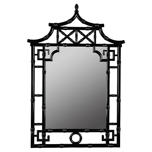 Chinoiserie Wall Mirror, Black