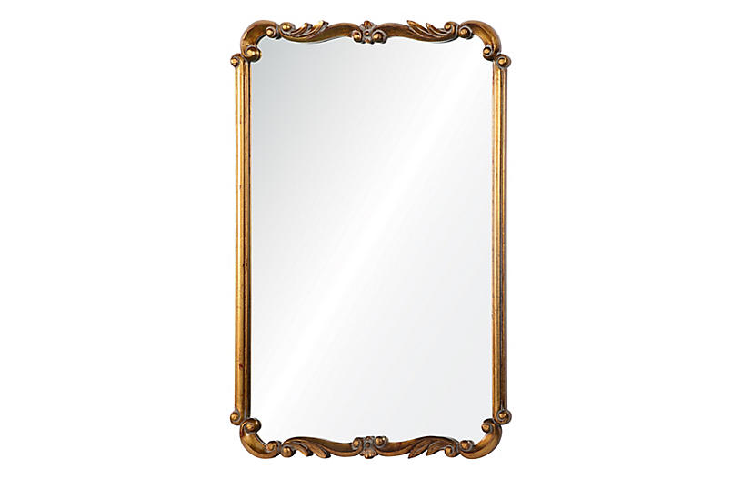 Toulouse Wall Mirror, Antiqued Gold