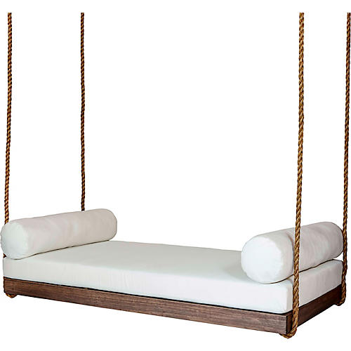 Sipsey Porch Swing, White/Brown Sunbrella