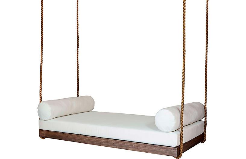 Sipsey Porch Swing, White/Brown Sunbrella