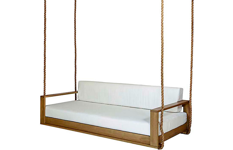 Percy Porch Swing, White/Natural Sunbrella
