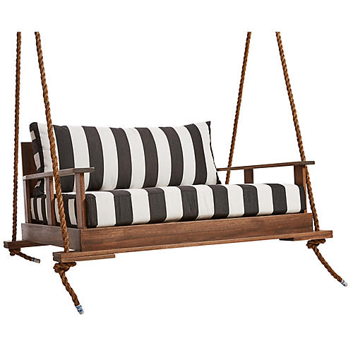 Faulkner Porch Swing, Black/White Sunbrella