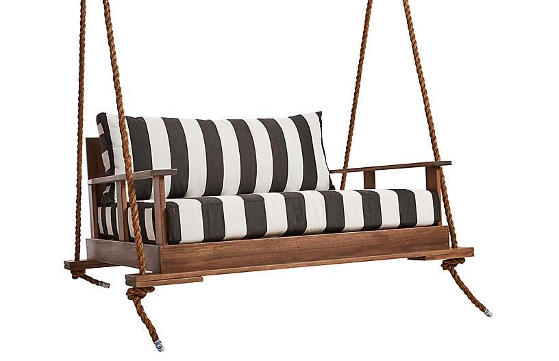Faulkner Porch Swing, Black/White Sunbrella
