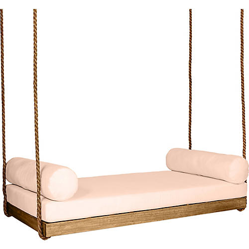 Sipsey Porch Swing, Natural/Rose Sunbrella