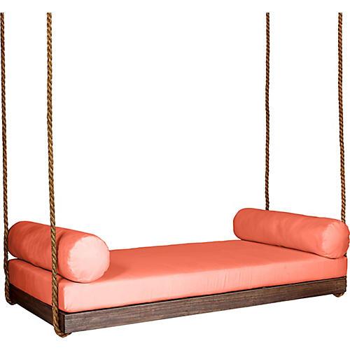 Sipsey Porch Swing, Coffee/Orange Sunbrella
