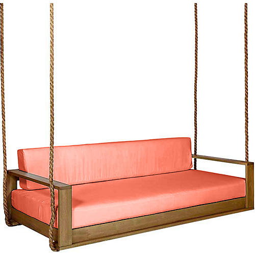 Percy Porch Swing, Natural/Orange Sunbrella
