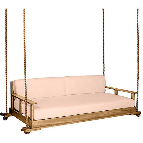 Faulkner Porch Swing, Natural/Rose Sunbrella