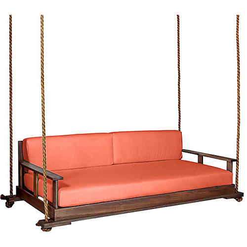 Faulkner Porch Swing, Coffee/Orange Sunbrella