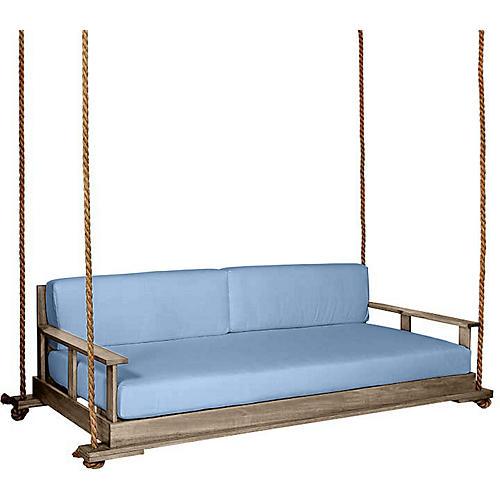 Faulkner Porch Swing, Driftwood/Blue Sunbrella