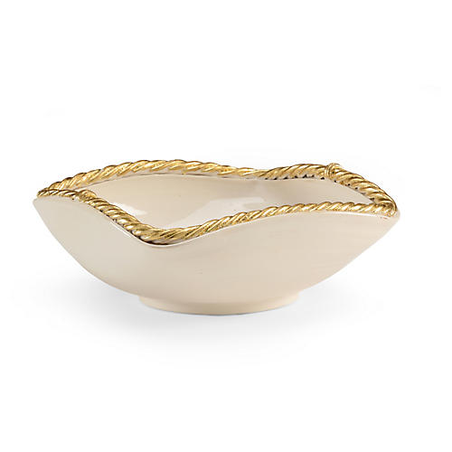 "15"" Madison Bowl, White/Gold"