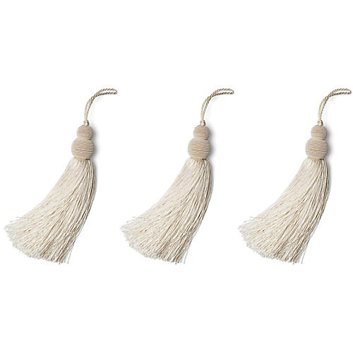 S/3 Tidings Tassel Ornaments, Ivory