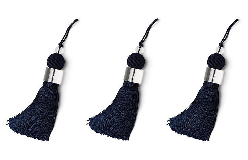 Set of 3 Glitzy Tassel Ornaments - Navy