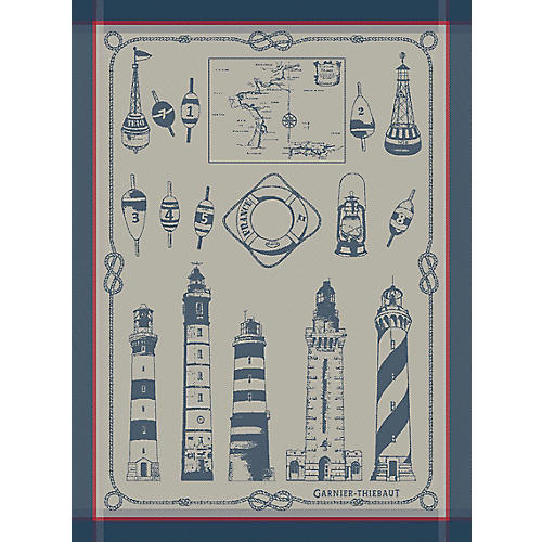 S/4 Ojai Dish Towels, Blue/White