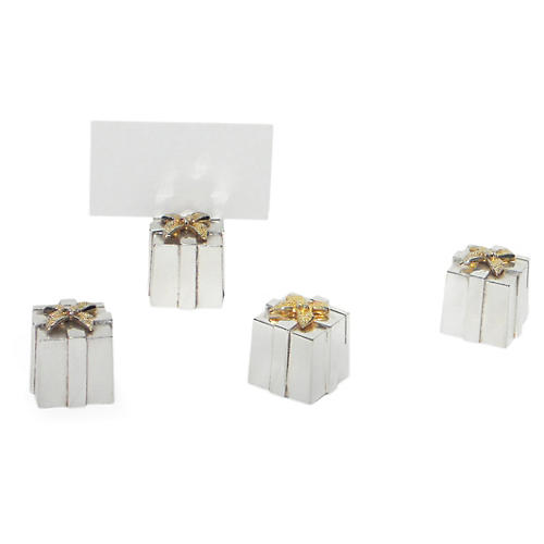 S/4 Silver-Plated Gift-Box Place Cards