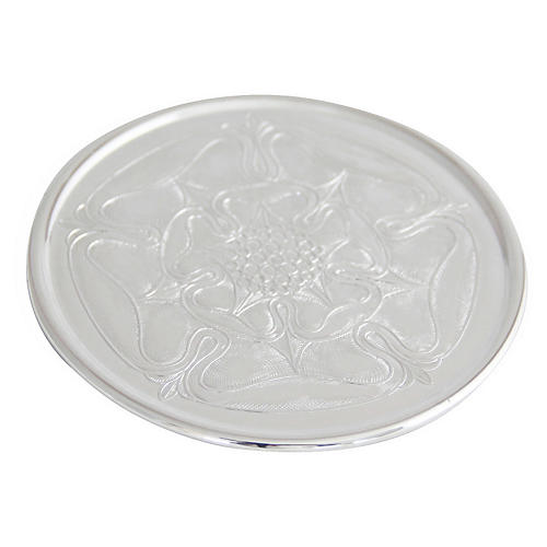 Silver-Plated Rose Coaster