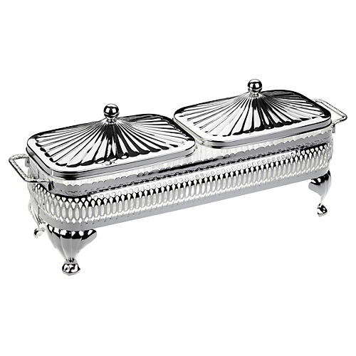2-Pc Silver-Plated Oblong Party Set