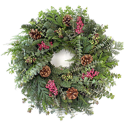 "20"" Fir & Berries Wreath, Live"