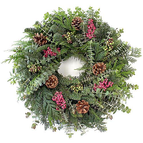 """20"""" Fir & Berries Wreath, Live"""