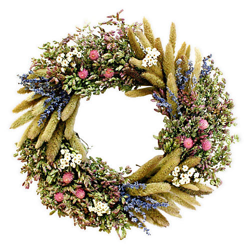 "16"" Daisy & Lavender Wreath, Dried"