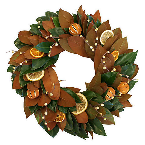 "20"" Citrus Magnolia Wreath, Live"