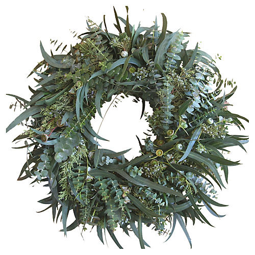 "22"" Eucalyptus w/ Juniper Live Wreath"