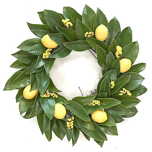 "20"" Lemon Live Wreath, Green/Yellow"