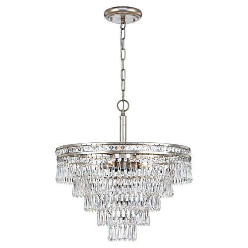 6-Light Crystal Convertible, Olde Silver