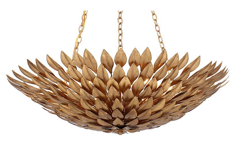 6-Light Pendant Chandelier, Antique Gold