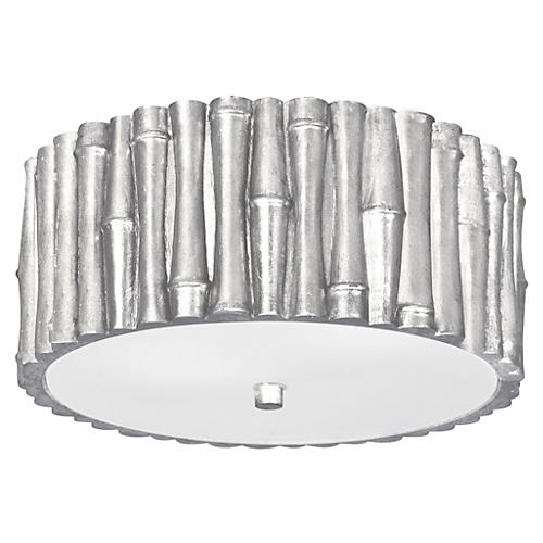2-Light Semi-Flush, Antique Silver