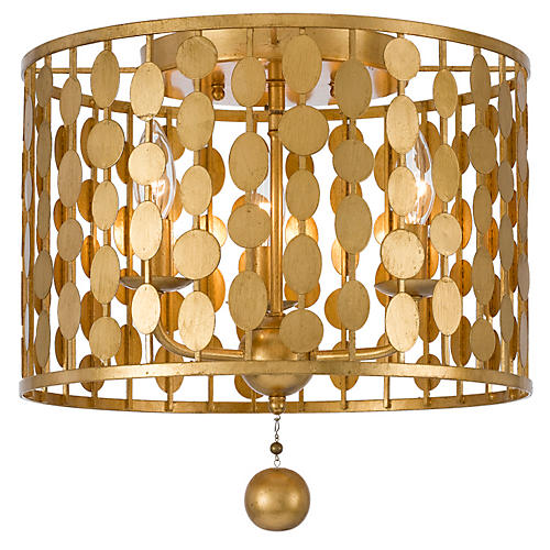 Layla 3-Light Ceiling Mount, Gold