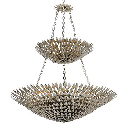 18-Light Leaf Chandelier, Silver