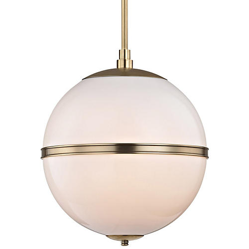 Truax 3-Light Pendant, Brass/Frosted