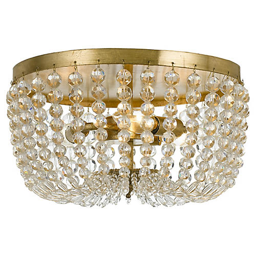 Rylee Crystal Flush Mount, Gold/Clear