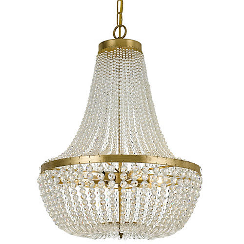 Rylee Crystal Chandelier, Gold/Clear