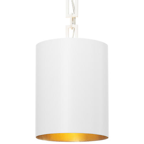 Alston Mini Pendant, Matte White/Gold