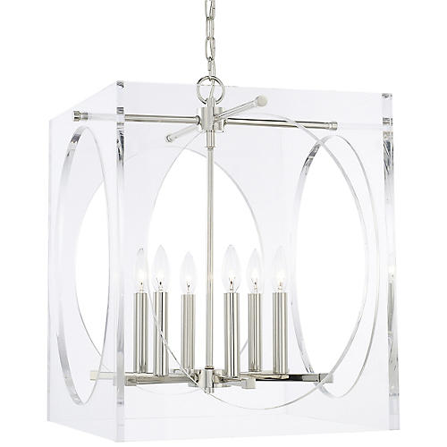 Drake Wide Chandelier, Clear/Nickel