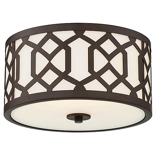 Jennings Outdoor Flush Mount, Bronze/Frosted