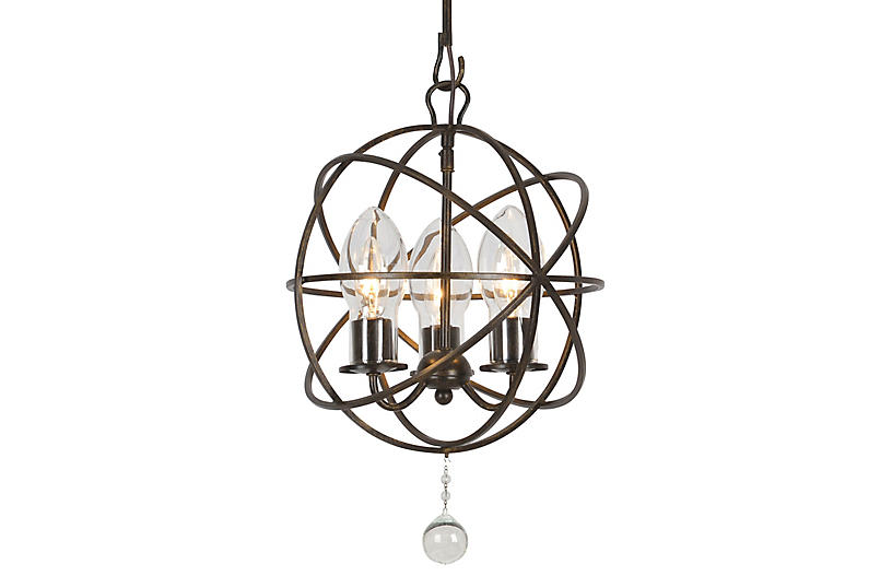 Solaris Outdoor 3-Light Chandelier, Bronze