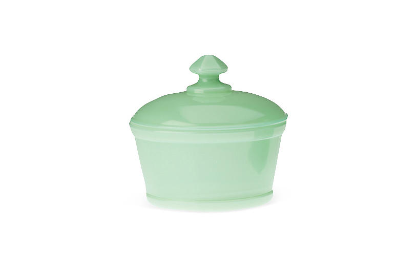 Covered Butter Tub, Jadeite