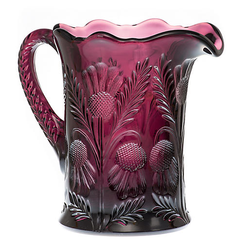 Inverted Thistle Glass Pitcher, Amethyst