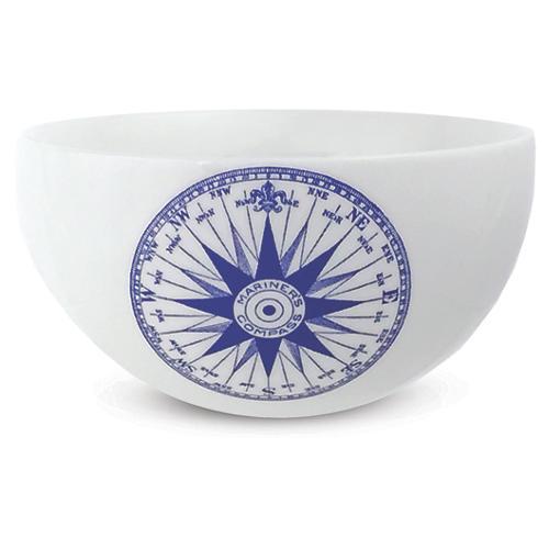 """Chart Compass Rose Blue Bowl, 4"""""""
