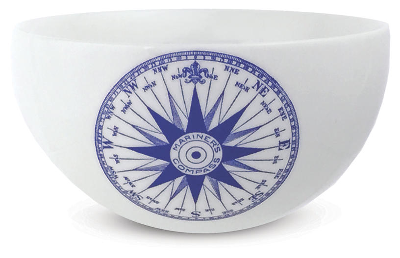 Chart Compass Rose Blue Bowl, 4