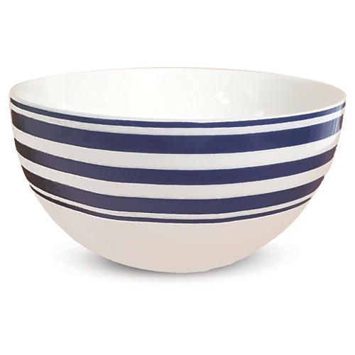 Beach-Towel-Striped Blue Bowl, 4""