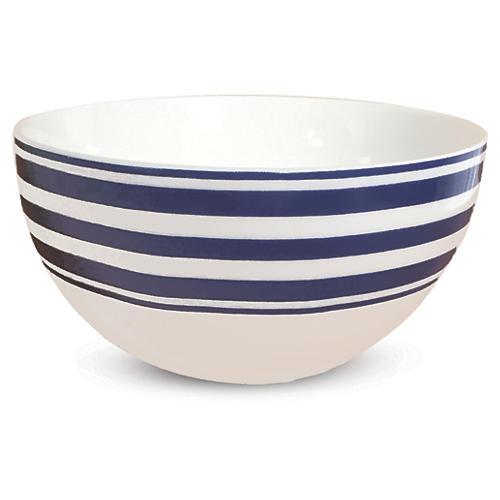 "Beach-Towel-Striped Blue Bowl, 4"""